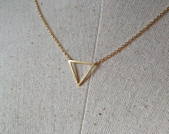 Gold Triangle Necklace, 14k Gold plated, Dainty Necklace