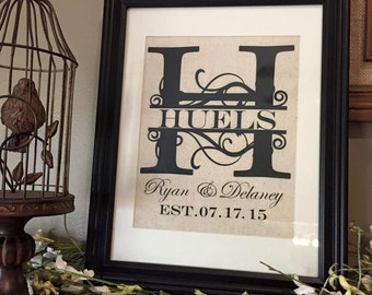 Family Monogram, Personalized bride and groom, last name frame, established frame, burlap frame, family sign, our first home