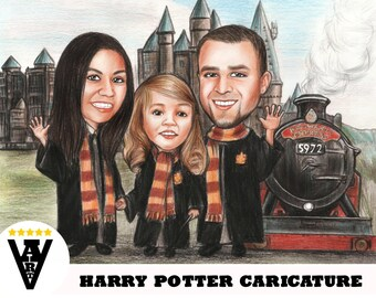 Harry Potter Caricature, Cartoon from Photo, Harry Potter Gift, Harry Potter Cartoon, Harry Potter Illustration