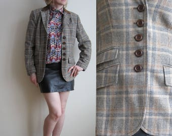 vintage 70s 80s Check Plaid houndstooth jacket S M