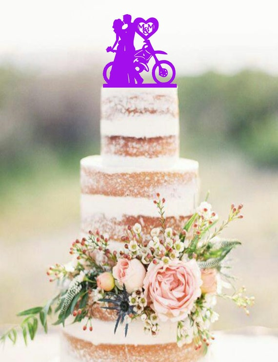 Dirt Bike Couple Wedding Cake Topper DirtBike Cake Topper