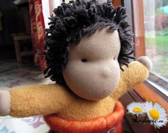 """Ready to ship, Johnny, 10"""" woolen African Waldorf doll, hug doll, cloth doll, black steiner doll, cuddle doll, baby boy doll, ethnic doll"""