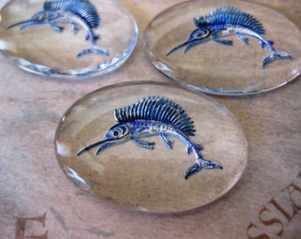 1 PC Vintage glass - hand painted Marlin picture stone 25 x 18mm - VV02