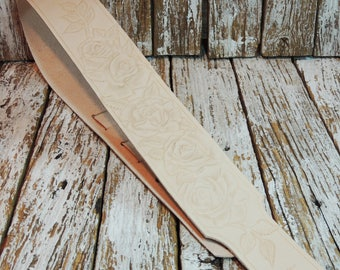 Leather Guitar Strap / Hand Tooled Guitar Strap / Adjustable Guitar Strap / Carved Leather Strap / Acoustic, Electric Guitar Strap