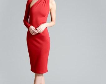 Red Dress / Pencil Dress / Party Dress / Midi Dress / One Shoulder Dress / Cocktail Dress / Marcellamoda - MD0003