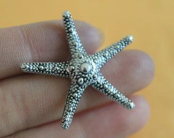 Bright Silver Starfish Charm Pendant 35*35mm Lead Free charms