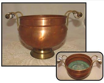 Vintage Copper & Brass Planter Pot w/ Double Blue White Delft Porcelain Handles