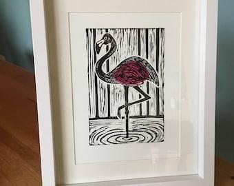 Framed Handprinted Linocut Flamingo Print