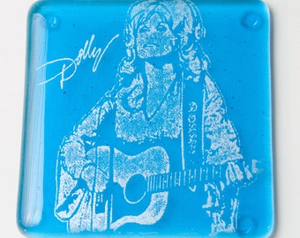 Dolly Parton Country Music Fused Glass Coaster, Musician, Country-Western