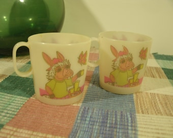 Pair Shari Lewis Child's Toy Cups Charlie Horse Play Cup Plastic Handled Tea Cup Doll Cups Dollhouse Accessory