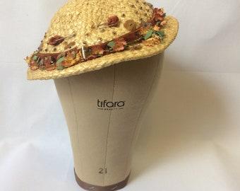 Vintage 50s Milgrim Tilt Hat | 1950s Straw Embellished Hat | Spring Floral Trim Straw Mini Hat