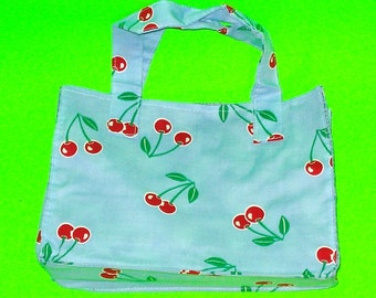 Cherry Delight Bright Blue and Red Rockabella Classic Essential Handbag Style Printed Purse