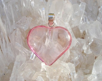 Rose Aura Heart Pendant -Double Love Energy- Sterling Silver bail - A Grade !  Powerful