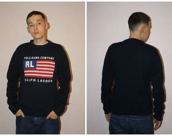 Free shipping! Polo Ralph Lauren sweater big logo vintage