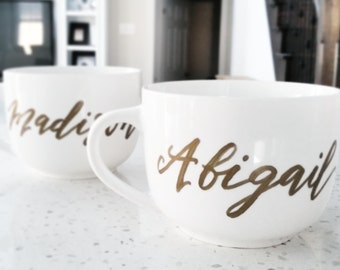 Personalized Hand Lettered CALLIGRAPHY Cappuccino Mug- One (name only)