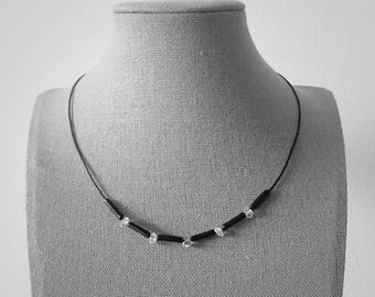 NY Herkimer Diamond Quartz Black Leather Necklace