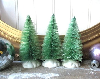 3 green vintage style bottle brush trees bottlebrush tree 4 inch putz village Woodland Fairy Forest Christmas Holiday decor