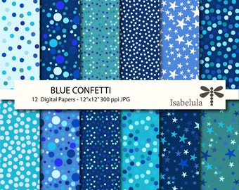 "Blue Confetti Digital Paper / Digital Backgrounds - 12 Sheets 12"" x 12"" High Quality JPGs - Instant Download"