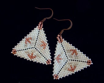 Peyote Triangle Earrings, Delica Seed Bead Earrings, Beaded Earrings, Seed Bead Earrings