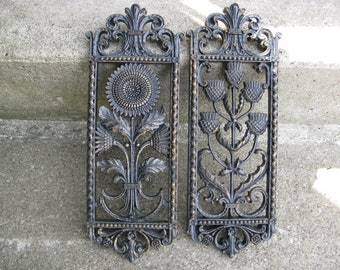 homco sunflower thistle wall plaques 1975 black and gold old world mediterranean