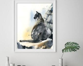 Cat in a Roof Fine Art Print, Cat Watercolor Painting Art, Cat Art, Cat Wall Art Print