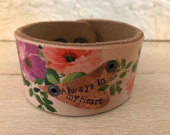 Always in my heart leather cuff