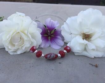 Red adjustable wire bracelet