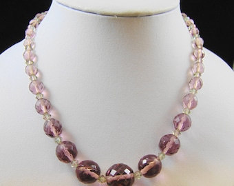 Purple Czech Cut Crystal Bead Necklace