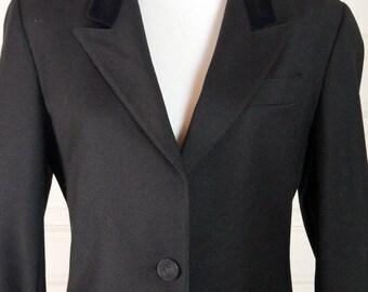 European Vintage Black Blazer Women's, Black Wool and Velvet Jacket, Italian Made Smart Blazer, Professional Blazer: Size 10 US, Size 14 UK
