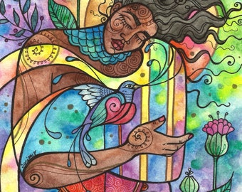 Studio Sale: Original Painting, The Doors to the Wild Self are Few but Precious, Watercolor,