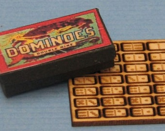 1:12 Dollhouse Miniature Dominoes and Box/ Dollhouse Miniature Toy DI TY106