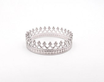Princess Crown Ring, Sterling Silver Stacking Rings, Minimalist Stackable Ring