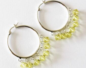 Jonquil Yellow crystal hoop earrings