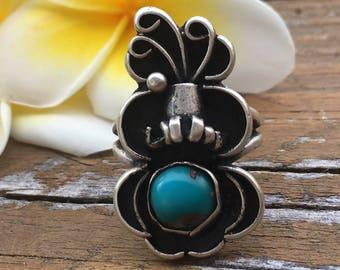 Turquoise And Sterling Silver Ring   Vintage Rings   Navajo Rings   Navajo Jewelry   Tribal Rings   Bohemian Rings   Boho Rings Gifts