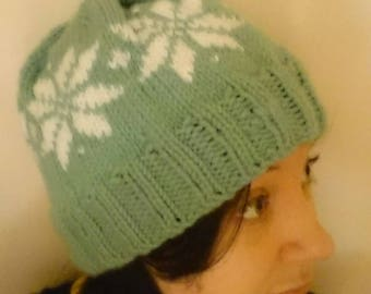 Hand Knit Sage and White Snow Flake Fair Isle Hat