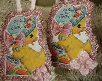 Easter paper ornaments Gift tags vintage easter baby ducks tags glittered pink easter vintage home decor ornaments card scrap tags