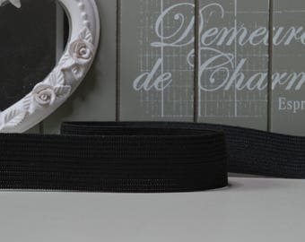 1 m elastic black and white wide ribbed 2 cm at the edge