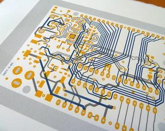 Arduino UNO circuit board screen print in blue grey and yellow - microcontroller silkscreen art