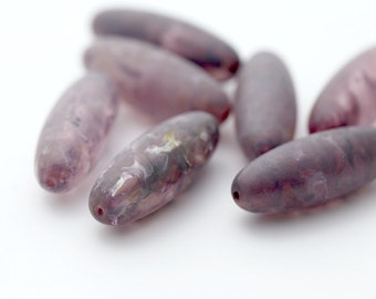 Vintage Amethyst Purple Long Oval Wash Lucite Beads 34mm (8)