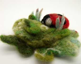 Ladybird on lichen brooch | Badge | Pin | Needlefelt | Insect gift | Felt brooch | Animal jewellery | Quirky gift | Statement brooch