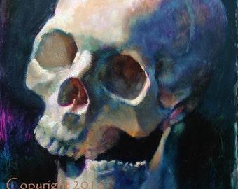 "Skull Original Oil Painting ""Cross Bite"" by Kristina Laurendi Havens"