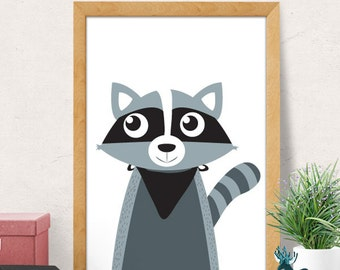 Raccoon print, Nursery wall art, Nursery decor, Nursery room wall decor, cute raccoon print, Nursery wall decor, Baby room decor, raccoon