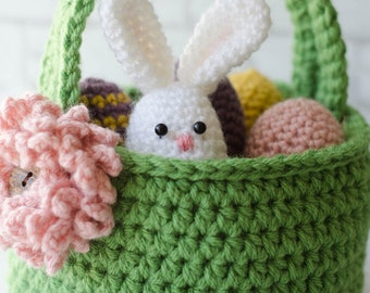 Crochet Easter Basket Pattern, Crochet Easter Eggs Pattern, Crochet Easter Egg Bunny Pattern, Easter Basket Crochet Pattern, Pattern-PDF