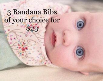 Bandana Bib, Baby Bandana Bib, Choose 3, Bandana bib set, Teething Baby, Dribble Bib