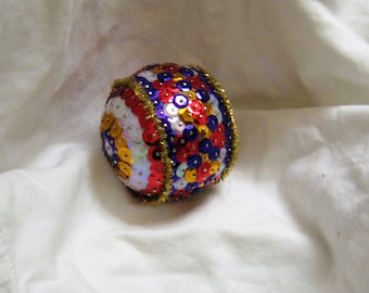 Sequin decorated art object or Christmas orrnament