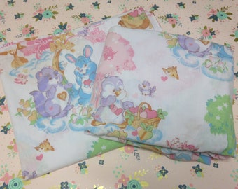 Vintage Care Bear Cousins Fitted and Flat Sheet Set ~Adorable pattern!~