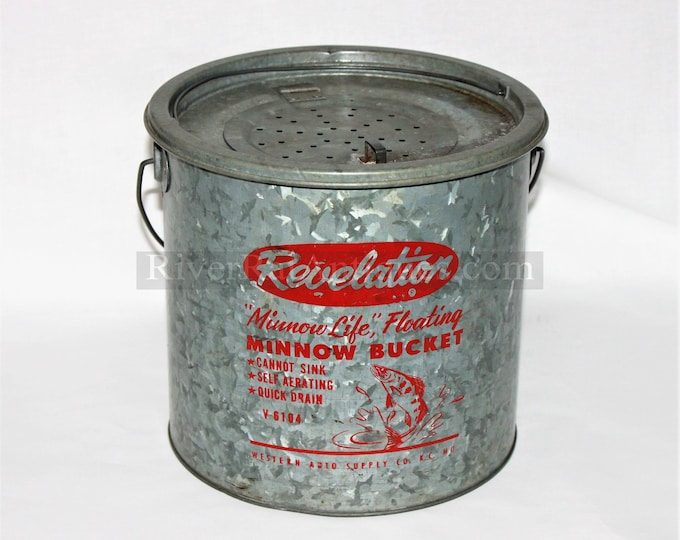 "Vintage Revelation ''Minnow Life"" Floating Minnow Bucket Model V6104 Galvanized Bait Bucket"