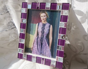 5x7 frame - Mosaic photo frame - Purple frame - Photo frame 5x7 - Picture frame 5x7 - Purple frames - Purple frame set - Mosaic art