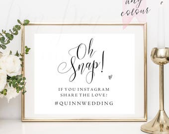 Oh Snap hashtag wedding sign, instagram sign, custom bride and groom hashtag sign, social media hashtag sign, printable #PPSB50