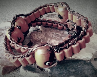 Red Wrapped Bracelet / Necklace / Lampwork Glass / WireWrapped / Leather / Copper Jewelry